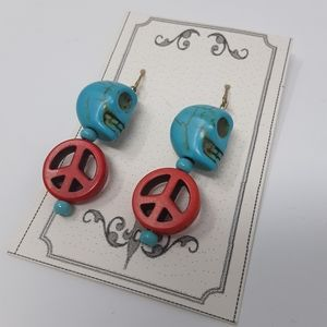 Handmade Peace & Skull Earrings Repurposed Beads